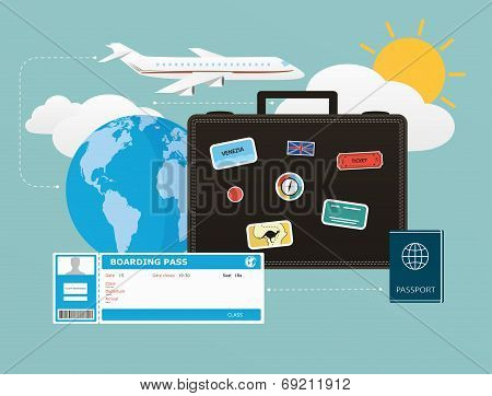 Icons Set Of Traveling, Objects Of Tourism And Travel In The Flat Design. Concept Business Travels A