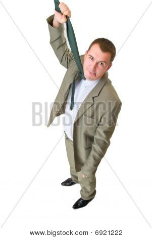Businessman Hanging By Necktie With Tongue