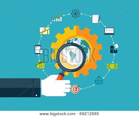Search Engine Optimization, Hand With Magnifier Around Business Icons