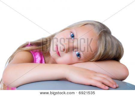 Pretty Long Hair Blond Girl With Blue Eyes