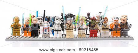 Ankara, Turkey - July 07, 2012: Studio shot of Lego Star Wars minifigures isolated on white background
