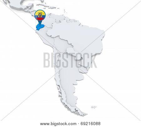 Ecuador On A Map Of South America