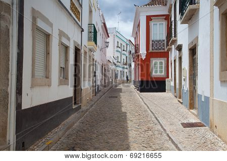 Historic Architecture With Moorish Elements In Tavira City, Algarve,