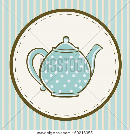 blue teapot with dots on colored  background