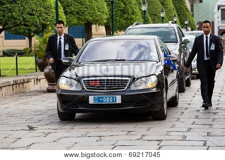 Bodyguards Protect State Machine, Which Moves In The Grand Palace In Bangkok, Thailand
