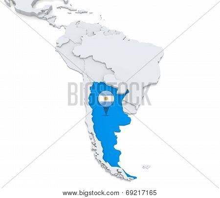 Argentina On A Map Of South America