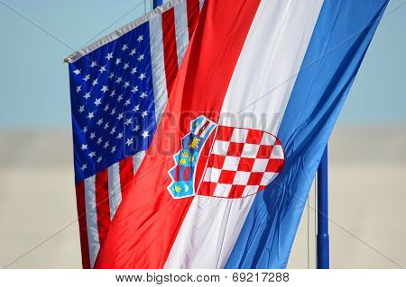 American And Croatian National Flags Waving