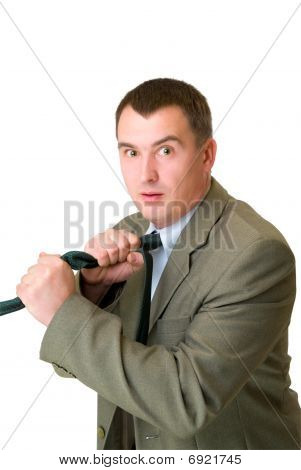 Afraid Businessman Strangle Tie