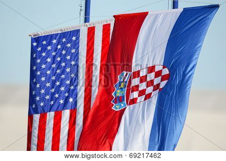 Croatian And American Flags Waving On White Background