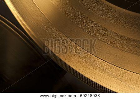 Golden Vinyl Record Close-up