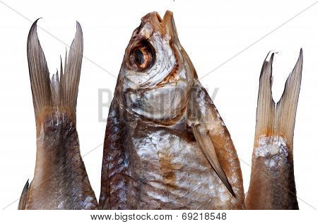 Dried Fish On White Background
