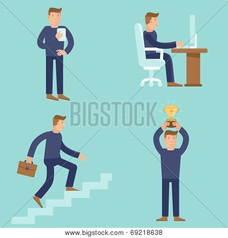 Set Of Business And Career Concepts In Flat Style