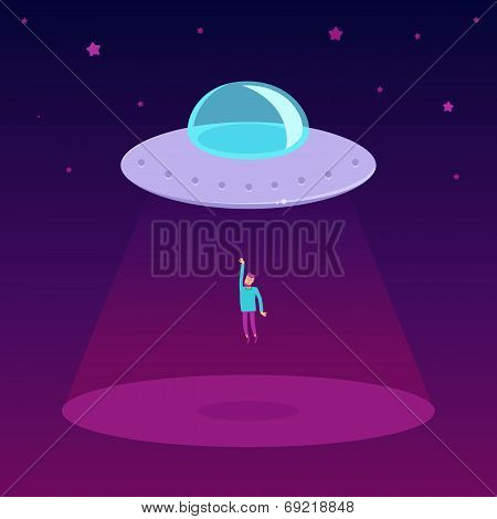 Vector Ufo Cartoon Illustration In Flat Style