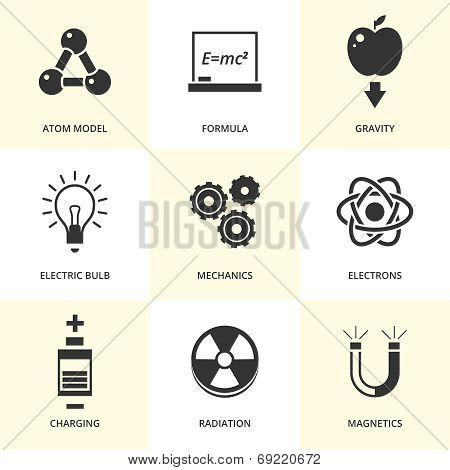 Set of black physics icons.