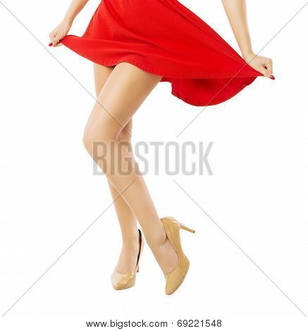 Legs Woman Dancing Close Up. Depilation Isolated White Background.