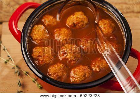 Meatballs in pan