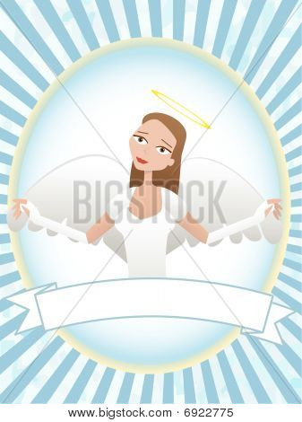 Female Angel inside oval banner advertisement setting