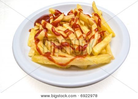 French Fries (pommes Frites) In Plate Isolated On White