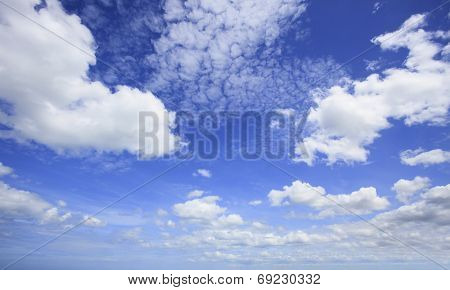 Beautiful Blue Sky And White Clouds With Wide Angle Camera Lens Use As Nature Background And Free Co