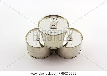 Aluminum Tin Can On White Background.