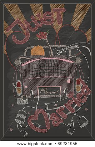 Just Married Wedding Invitation Card Design In Vintage Style With Chalkboard
