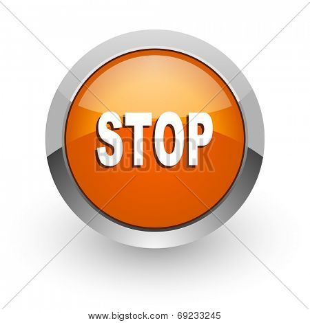 stop orange glossy web icon