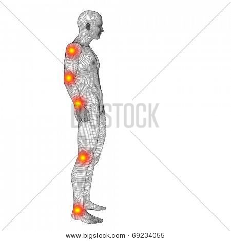 Concept or conceptual 3D human anatomy mesh or wireframe body with pain, ache or inflammation isolated on white background