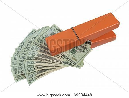 Clothespin Holding A Fan Of Money