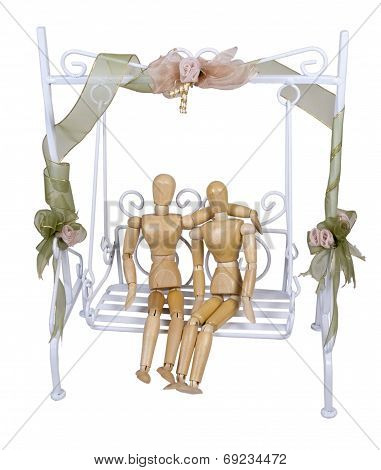 Dating On A White Garden Swing