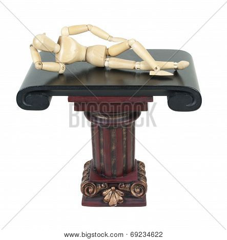 Laying Down On A Pillar Stand With Hand Behind Head