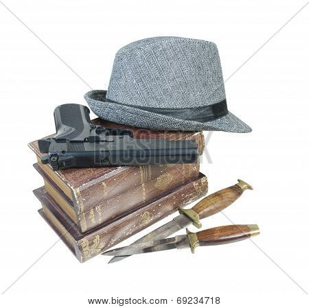 Murder Mystery Books Gun Knives Hat