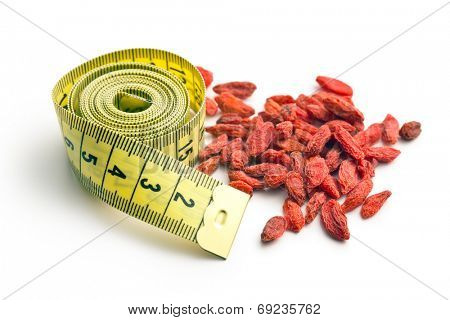 dried goji berries and measuring tape