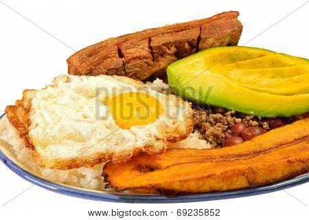 Colombian cuisine. Bandeja paisa.