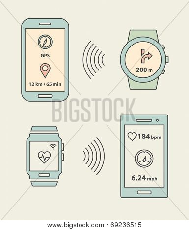 Smartwatch, fitness tracker and smartphones communication. Smartphone sending message with GPS position to smartwatch. Vector illustration