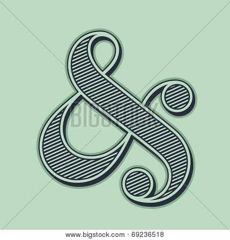 Elegant and stylish ampersand symbol for wedding invitation. Vector illustration