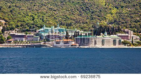 Russian St. Pantaleon Orthodox monastery at Mount Athos, Agion Oros (Holy Mountain), Chalkidiki, Greece.