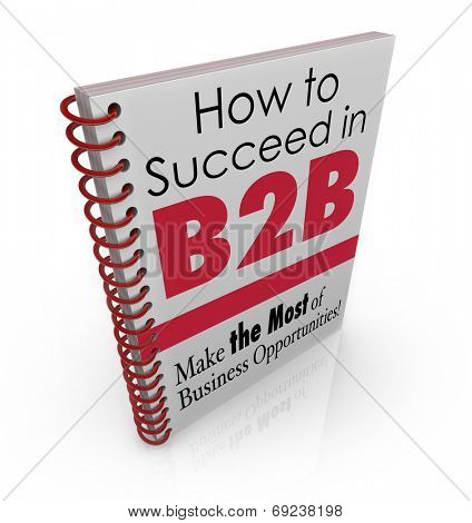 How to Succeed in B2B title on a spiral bound book of advice, tips and information on how to achieve success in business sales