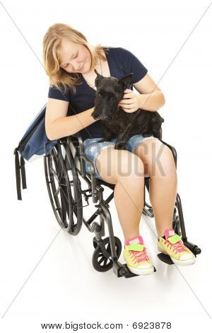 Disabled Girl Comforts Dog