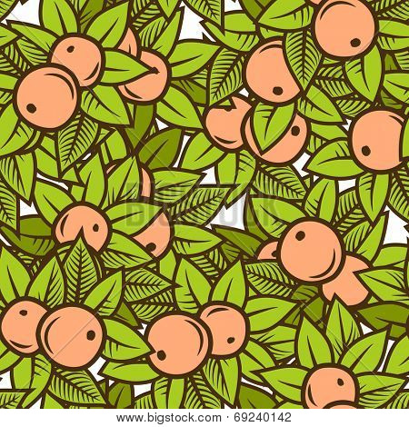 Seamless color apple pattern in engraving style. Vector