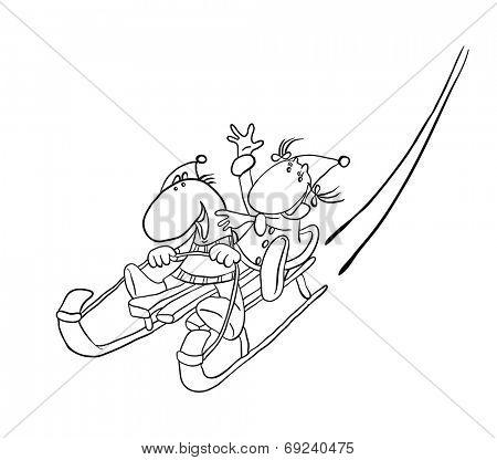 couple sledding on a snowy hill , contour vector illustration