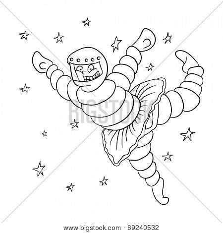 dancing astronaut in outer space, vector illustration