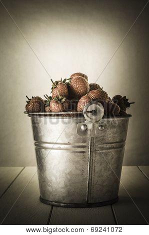 Vintage Pail Of Strawberries