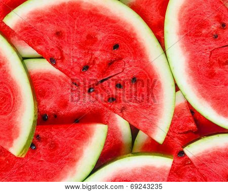 Abstract Background With Slices Of Fresh Ripe Red