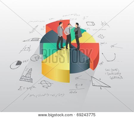 Businessmen standing on pie chart with math equations on grey background