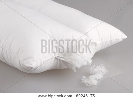white pillow display cotton wool inside
