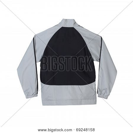Gray and black sport jacket with blank back