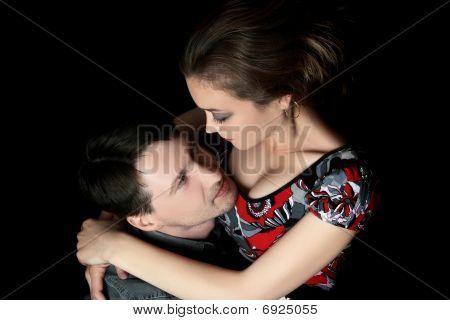 Romantic Couple Hugging.