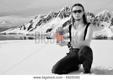 Man Holding A Usa Flag