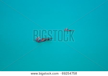 Aerial View Fishing Trawler,  Shrimp Fishing Boat With Nets.