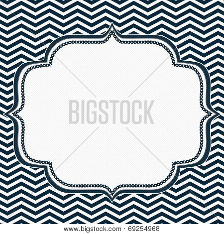 Navy Blue And White Chevron Frame With Embroidery Background